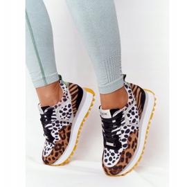Zamszowe Sportowe Buty Na Platformie GOE HH2N4003 Brązowe białe czarne 2