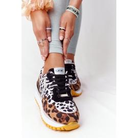Zamszowe Sportowe Buty Na Platformie GOE HH2N4003 Brązowe białe czarne 4