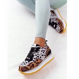 Zamszowe Sportowe Buty Na Platformie GOE HH2N4003 Brązowe białe czarne 7