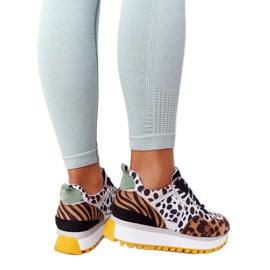 Zamszowe Sportowe Buty Na Platformie GOE HH2N4003 Brązowe białe czarne 3