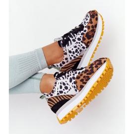Zamszowe Sportowe Buty Na Platformie GOE HH2N4003 Brązowe białe czarne 6