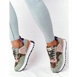 Zamszowe Sportowe Buty Na Platformie GOE HH2N4002 Zielono-Złote beżowy brązowe różowe zielone złoty 2