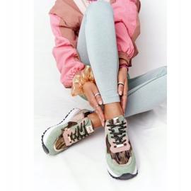 Zamszowe Sportowe Buty Na Platformie GOE HH2N4002 Zielono-Złote beżowy brązowe różowe zielone złoty 5
