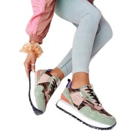 Zamszowe Sportowe Buty Na Platformie GOE HH2N4002 Zielono-Złote beżowy brązowe różowe zielone złoty 6