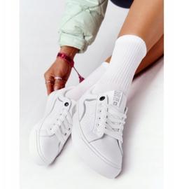 Damskie Skórzane Tenisówki Big Star HH274075 Biało-Srebrne białe srebrny 4