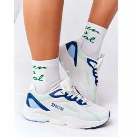 Damskie Sportowe Buty Memory Foam Big Star HH274810 Biało-Zielone białe niebieskie 2