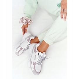 Damskie Sportowe Buty Memory Foam Big Star HH274255 Biało-Fioletowe białe szare 4