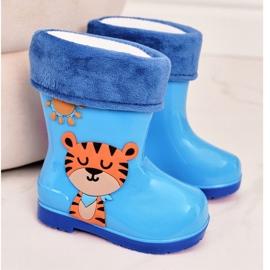 Dziecięce Ocieplane Kalosze Z Tygryskiem Niebieskie 2