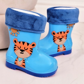 Dziecięce Ocieplane Kalosze Z Tygryskiem Niebieskie 3