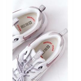 Damskie Sportowe Buty Memory Foam Big Star HH274255 Biało-Fioletowe białe szare 7