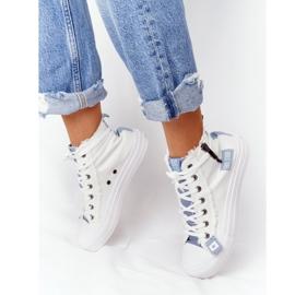 Damskie Wysokie Trampki Big Star HH274160 Białe niebieskie 1