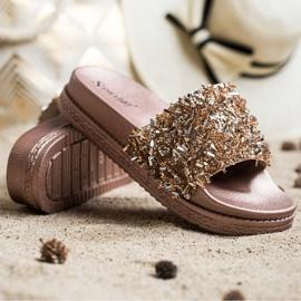 Seastar Klapki Z Kryształkami Fashion złoty 1