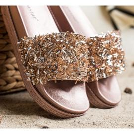 Seastar Klapki Z Kryształkami Fashion złoty 2