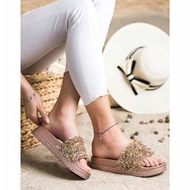Seastar Klapki Z Kryształkami Fashion złoty 4