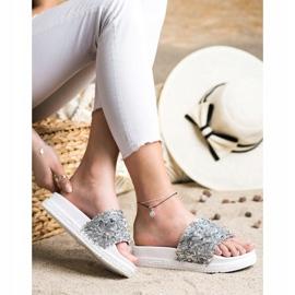 Seastar Klapki Z Kryształkami Fashion białe srebrny 4