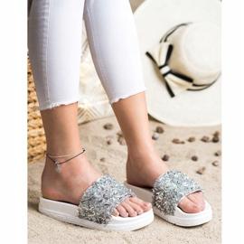 Seastar Klapki Z Kryształkami Fashion białe srebrny 3