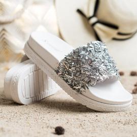 Seastar Klapki Z Kryształkami Fashion białe srebrny 1