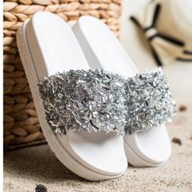 Seastar Klapki Z Kryształkami Fashion białe srebrny 2