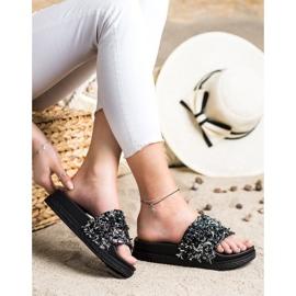 Seastar Klapki Z Kryształkami Fashion czarne 1