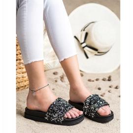 Seastar Klapki Z Kryształkami Fashion czarne 4