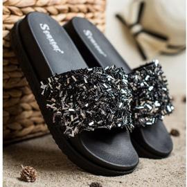 Seastar Klapki Z Kryształkami Fashion czarne 2