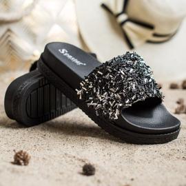Seastar Klapki Z Kryształkami Fashion czarne 3