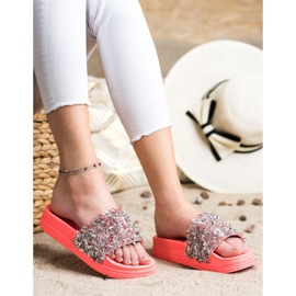 Seastar Klapki Z Kryształkami Fashion czerwone różowe 4