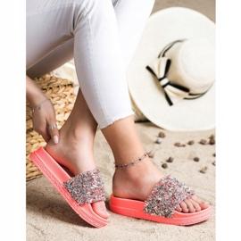 Seastar Klapki Z Kryształkami Fashion czerwone różowe 1