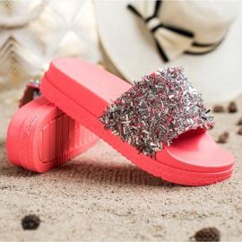 Seastar Klapki Z Kryształkami Fashion czerwone różowe 2