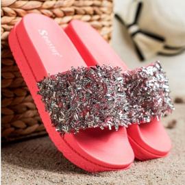 Seastar Klapki Z Kryształkami Fashion czerwone różowe 3
