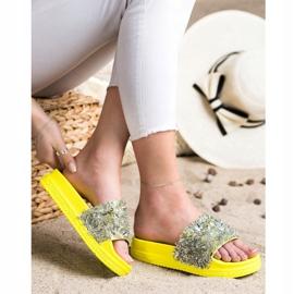 Seastar Klapki Z Kryształkami Fashion srebrny żółte 1