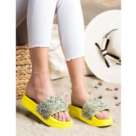 Seastar Klapki Z Kryształkami Fashion srebrny żółte 4