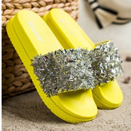 Seastar Klapki Z Kryształkami Fashion srebrny żółte 2