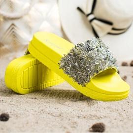 Seastar Klapki Z Kryształkami Fashion srebrny żółte 3