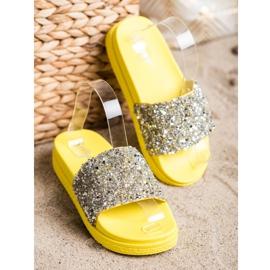 Seastar Modne Klapki Na Platformie srebrny żółte 2