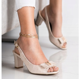 Evento Eleganckie Sandały Na Obcasie beżowy 1