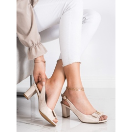 Evento Eleganckie Sandały Na Obcasie beżowy 2