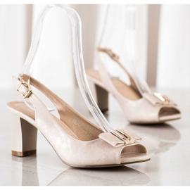 Evento Eleganckie Sandały Na Obcasie beżowy 3