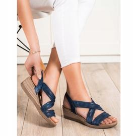 S. BARSKI Wsuwane Sandały Na Koturnie S.BARSKI niebieskie 1