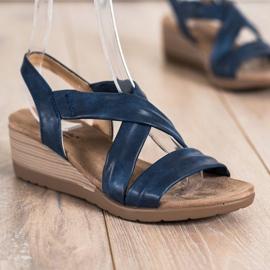 S. BARSKI Wsuwane Sandały Na Koturnie S.BARSKI niebieskie 2