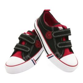 American trampki dziecięce na rzepy American Club LH62 czarne czerwone 3