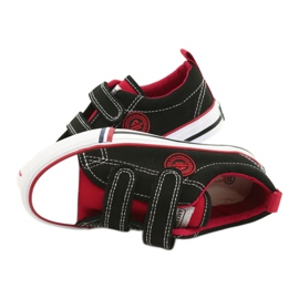 American trampki dziecięce na rzepy American Club LH62 czarne czerwone 4