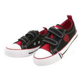 American trampki dziecięce na rzepy American Club LH62 czarne czerwone 2