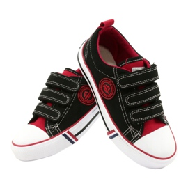 American Trampki Dziecięce Na Rzepy American Club LH61 Czarno-Czerwony czarne czerwone 3