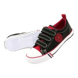 American Trampki Dziecięce Na Rzepy American Club LH61 Czarno-Czerwony czarne czerwone 2