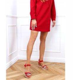 Sandałki na koturnie czerwone A89832 Red 3