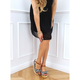 Sandałki na koturnie w paski czarne A89907 Black beżowy brązowe 2