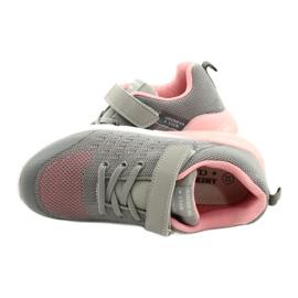 American Club Dziewczęce Buty Sportowe Na Rzep RL11 Szare-Różowe 4
