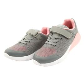 American Club Dziewczęce Buty Sportowe Na Rzep RL11 Szare-Różowe 1