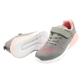 American Club Dziewczęce Buty Sportowe Na Rzep RL11 Szare-Różowe 2